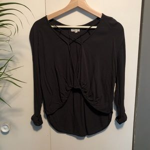 Silence & Noise Extra Small Dark Grey Blouse UO